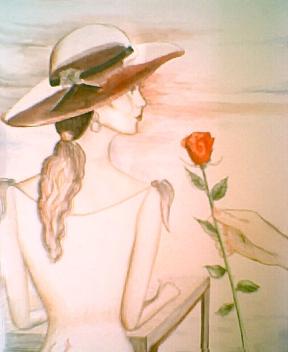 Frauen mit hut gemalt